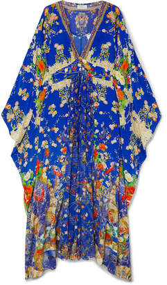 Camilla Crystal-embellished Printed Silk Crepe De Chine Kaftan - Cobalt blue