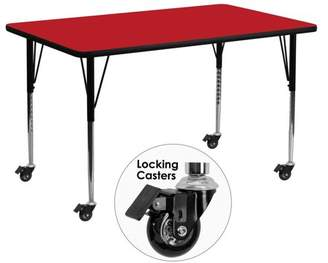Flash Furniture Mobile 30''W x 72''L Rectangular Activity Table with 1.25'' Thick High Pressure Red Laminate Top and Standard Height Adjustable Legs