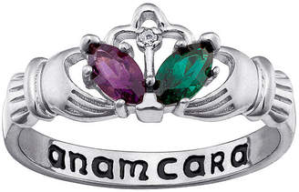 Cara FINE JEWELRY Personalized Anam Claddagh Birthstone Engraved Ring