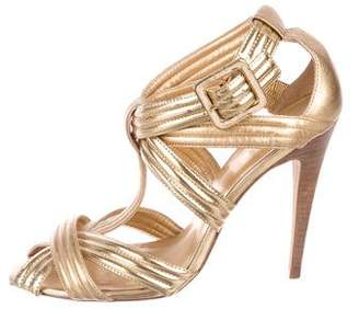Tory Burch Metallic Leather Ankle Strap Pumps