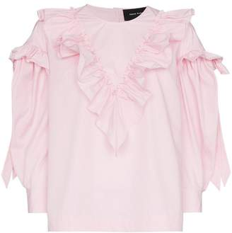 Simone Rocha stripe ruffle cotton long sleeve blouse