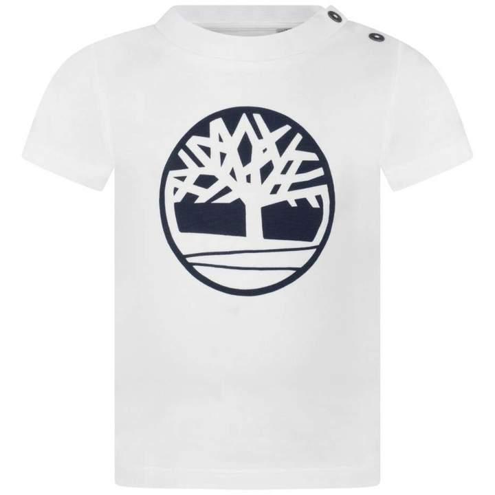 TimberlandBaby Boys White Logo Print Top