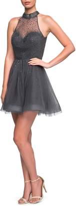 La Femme Rhinestone Halter Skater Dress