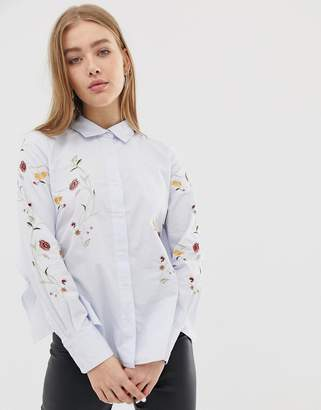 Blank NYC In Bloom floral embroidered shirt