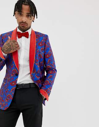 Asos Edition EDITION skinny blazer in blue and red floral jacquard and shawl lapel