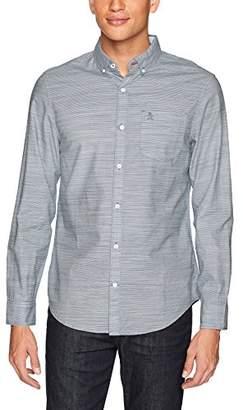 Original Penguin Men's Long Sleeve Stripe Cotton Linen Shirt