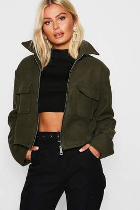 boohoo Pocket Front Wool Trucker