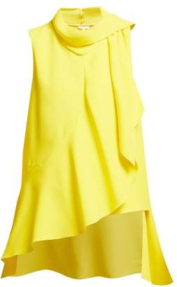 DELPOZO Ruffled Asymmetric Crepe Top - Womens - Yellow