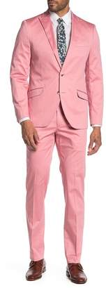 SAVILE ROW CO Raspberry Pink Solid Two Button Peak Lapel Suit