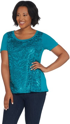 Bob Mackie Bob Mackie's Short-Sleeve Sequin Front Knit Top