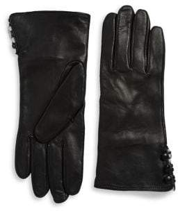Lord & Taylor Rabbit Fur Lined Cuffed Leather Gloves