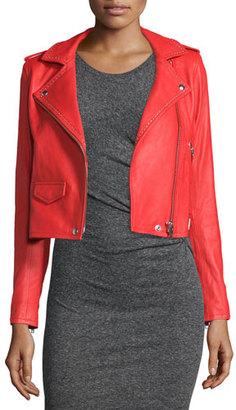 Iro Studded Leather Moto Jacket, Blood Orange $1,495 thestylecure.com