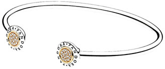 Pandora 14K & Silver Cz Signature Bangle Bracelet