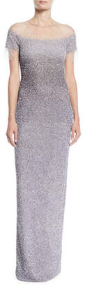 Pamella Roland Short-Sleeve Crunchy Sequin Ombre Gown