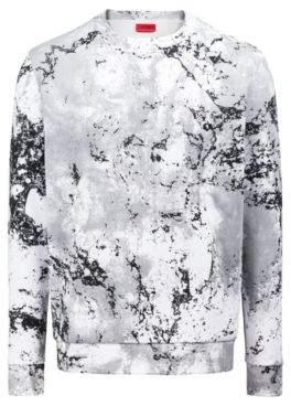 HUGO Boss Oversized-fit fleece sweatshirt in snow-camouflage print M Patterned