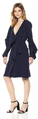 Elliatt Women's Apparel Asymmetric ONE Shoulder WRAP Dress W Side TIE and Ruffle Hem