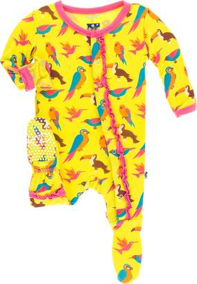 Kickee Pants Baby Girl's Banana Tropical Birds Muffin Ruffle Footie
