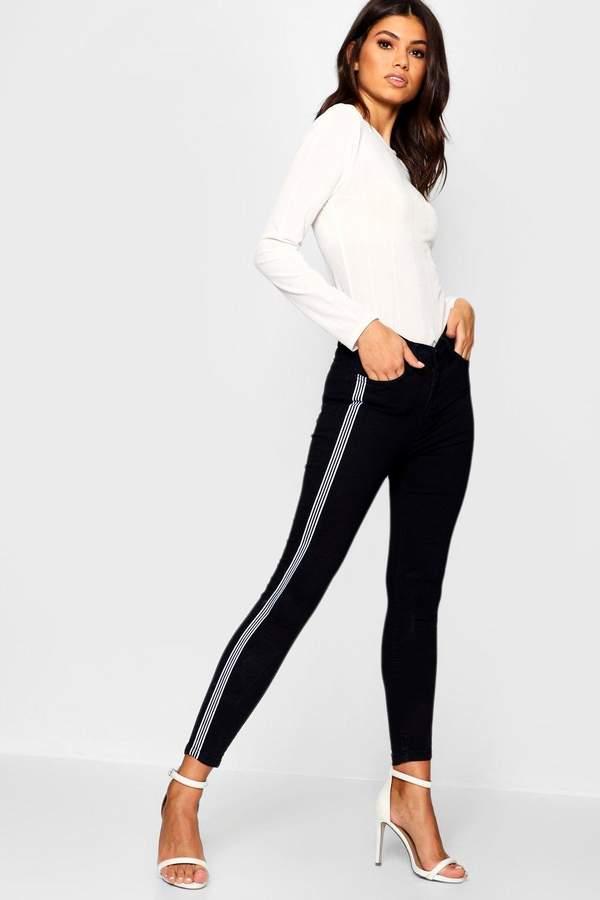 High Rise Side Stripe Skinny Jean