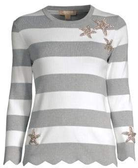 Michael Kors Striped Embellished Cotton Sweater