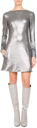 Neiman Marcus Pascal Millet Paillette Jersey Minidress with Fringe Sleeves, Silver