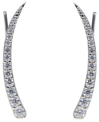 Kenneth Jay Lane CZ By Linear Pave CZ Hook Earrings