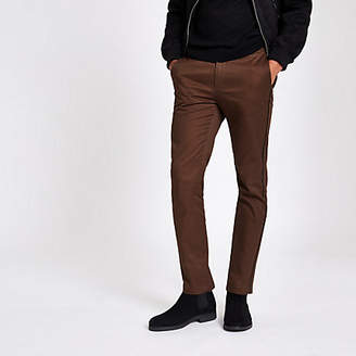 River Island Brown taped side skinny fit pants