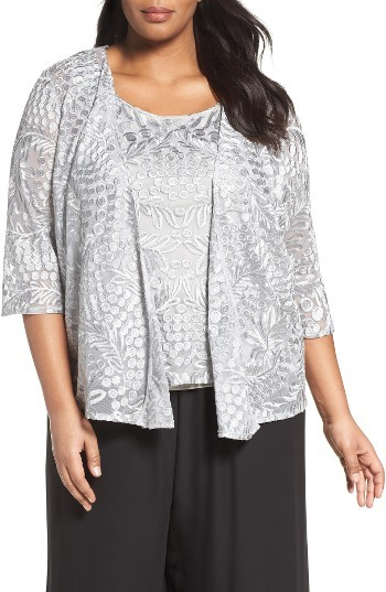 Alex Evenings Plus Size Women's Alex Evenings Embroidered Lace Twinset