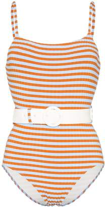 Solid & Striped striped belted swimsuit