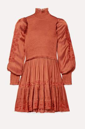 Ulla Johnson Angelica Shirred Embroidered Satin Mini Dress - Orange