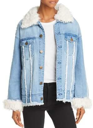 525 America Real Lamb Shearling Trimmed Denim Jacket