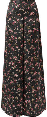 CAMI NYC The Tommy Floral-print Silk-charmeuse Wide-leg Pants - Black