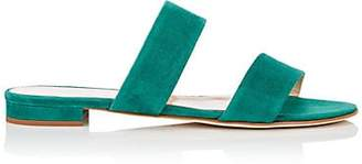 Barneys New York Women's Suede Double-Band Sandals - Md. Green
