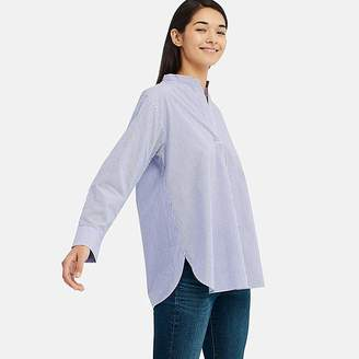Uniqlo Women's Extra Fine Cotton Stand Collar Long-sleeve Shirt (stripe)
