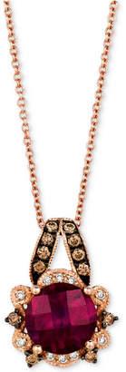 "LeVian Le Vian Raspberry Rhodolite (1-3/4 ct. t.w.) & Diamond (1/5 ct. t.w.) 18"" Pendant Necklace in 14k Rose Gold"