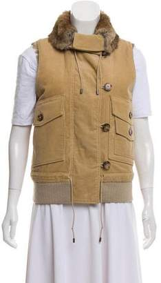 Theory Fur-Trimmed Corduroy Vest