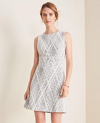 Ann Taylor Petite Argyle Textured Flare Dress