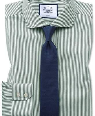 Charles Tyrwhitt Extra slim fit non-iron cutaway collar olive Bengal stripe shirt