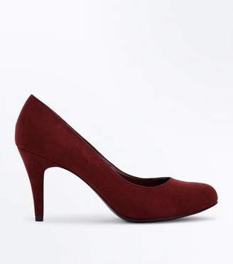 New Look Wide Fit Burgundy Suedette Round Toe Courts