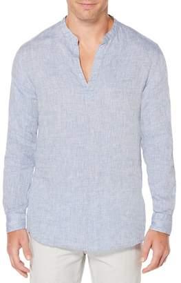 Perry Ellis Linen Split Collar Regular Fit Shirt