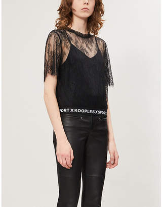 The Kooples Round-neck sheer cropped stretch-lace T-shirt