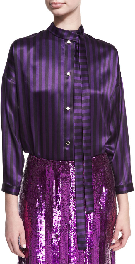 Nina Ricci Nina Ricci Striped Tie-Neck Bodysuit, Purple