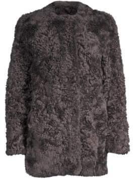 Glamour Puss Glamourpuss Glamourpuss Women's Lamb Fur Baseball Jacket - Size Medium
