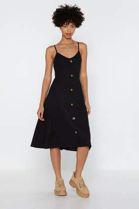 Nasty Gal Hold Button-Down the Fort Ribbed Midi Dress