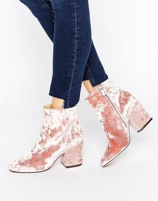ASOS RACHELLE Velvet Heeled Ankle Boots $58 thestylecure.com