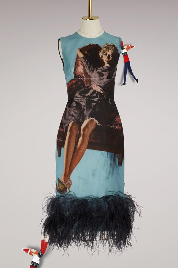 Prada Printed feather dress