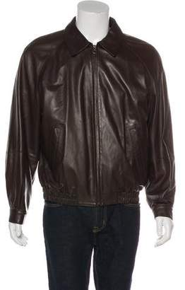 Salvatore Ferragamo Collared Leather Jacket