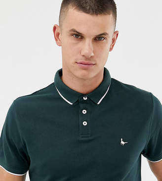 Jack Wills Edgewear slim fit twin tipped polo in dark green