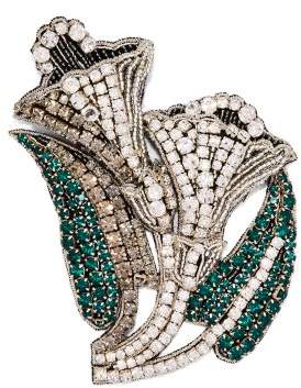 Rochas Crystal Embellished Lily Brooch - Womens - Silver
