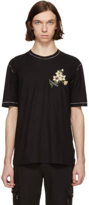 Dolce & Gabbana Black Floral Patch T-Shirt