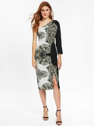 Wallis Placed Paisley One Shoulder Dress